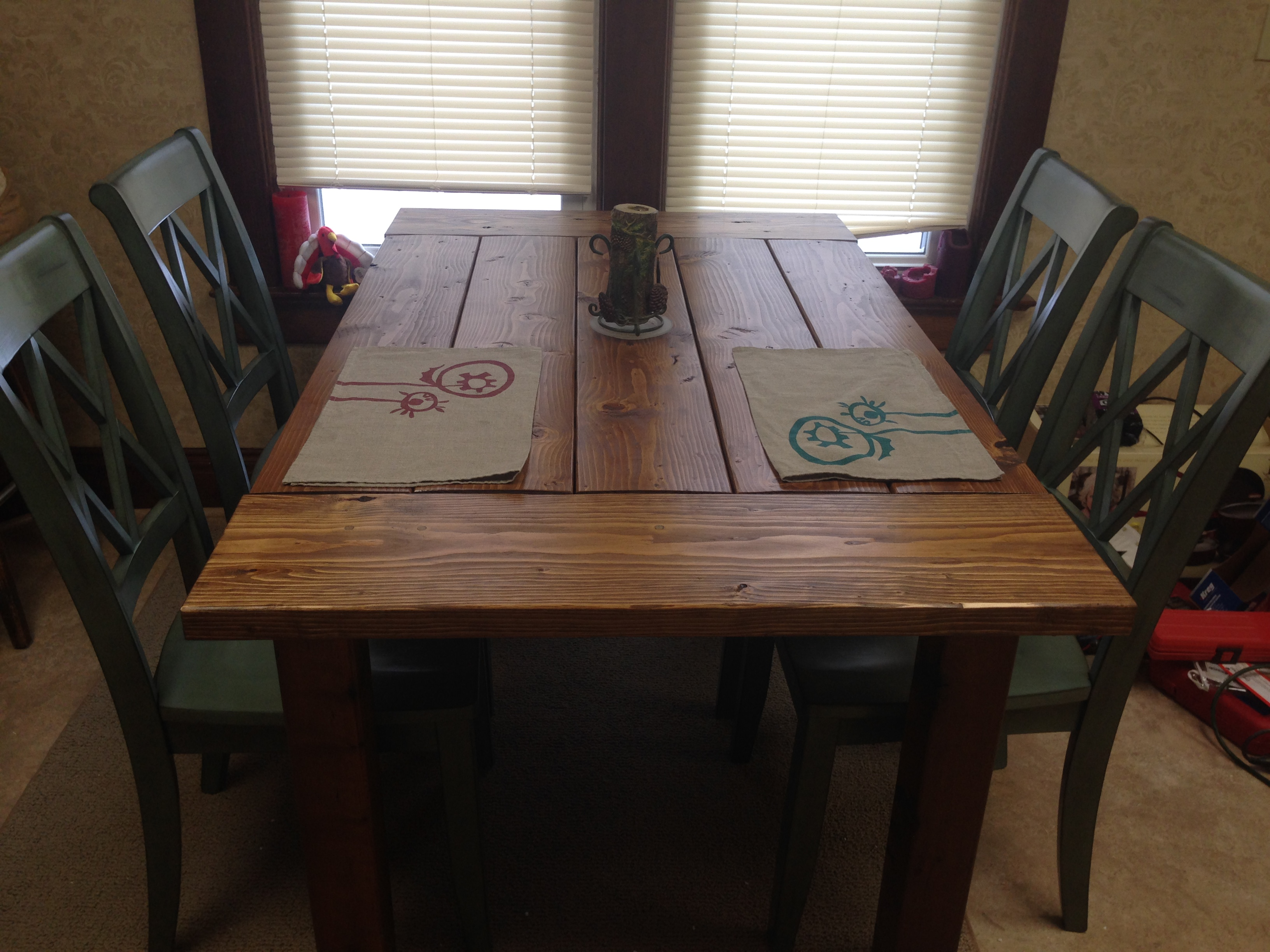 Table Closeup Homemade Dining Table.